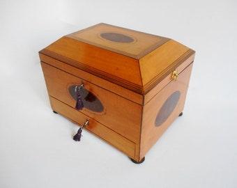 A satinwood sewing box. c 1800