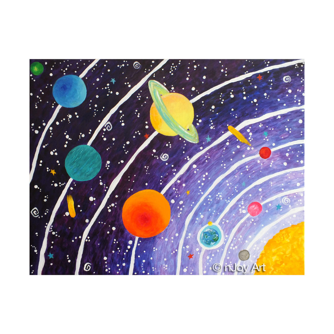 Purple Solar System Art Print 8x10 Inch Space Themed Kids
