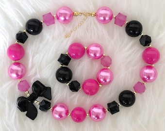 Hot pink and black chunky necklace,girl chunky necklace,mouse birthday,baby necklace,infant jewelry,children necklace,bubblegum Necklace