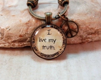 Affirmation Positive Sayings Quotes Key Ring Chain I live my truth in Gift Bag for Friends Moms Teens