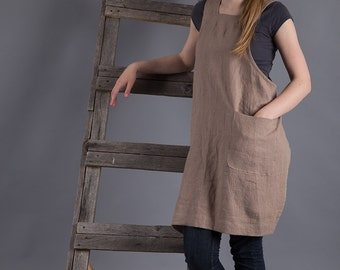 Linen Japanese Apron Dress Cappuchino Washed Linen Pinafore Linen Smock  Flax Apron Crossback Tunic Linen Artisan Pinny Made to order