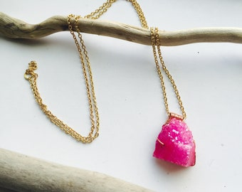 Pink Sugar* copper wire wrapped druzy crystal pendant