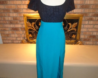 Vintage 70s Black Lace Turquoise Evening Gown Empire Waist