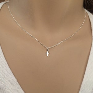Teeny Tiny cross necklace - Dainty, Small sterling silver cross necklace -  Minimal Little silver necklace