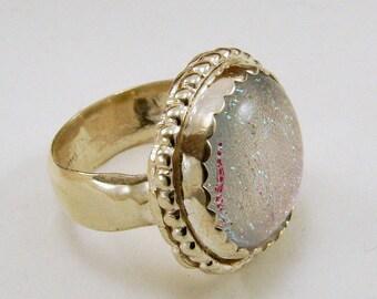 Sterling Silber und dichroitische Glasring - einstellbar - Größe 5 sofort lieferbar