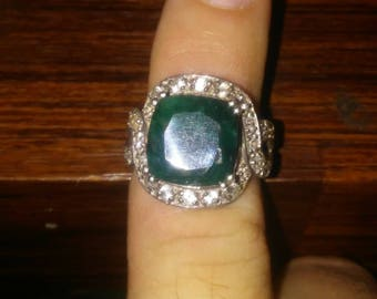 Rare vintage sterling silver cocktail or statement ring emerald? Stone center diamond accents throughout FADI 925 INDIA