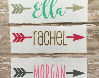 Personalized name decal, Custom arrow decal,  Name sticker, Name decal