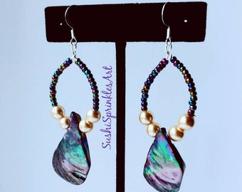 Aura beads, faux pearls, and shell earrings