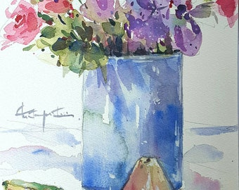 Vase of Flowers and Rose Apple : Original Watercolour Painting