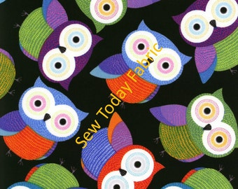 Owls on Black - Foxy Owl Collection Timeless Treasures FUN-C1478-BLACK  (sold by the 1/2 yard)