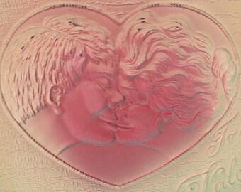 """Ca. 1908 """"Lovers Kissing"""" Embossed Victorian Greetings Postcard - 2210"""