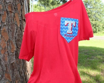 Texas Rangers Baseball Off Shoulder Chevron Pocket Shirt