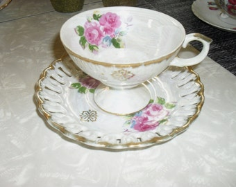 Vintage 1940s - Cup and Saucer Set - Norcrest - Japan - Roses, with cut out pattern