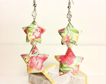 Silver earrings star origami jungle green yellow and pink