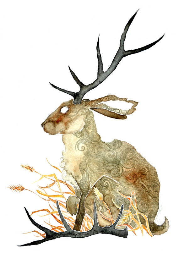 Shed Antlers -giclee PRINT  of original watercolor-