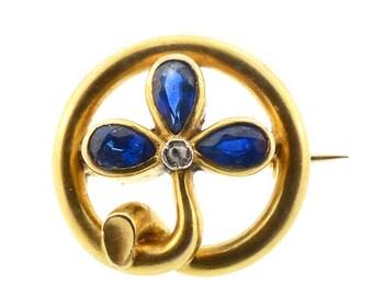 Victorian 18K Gold Sapphire & Diamond Clover Sentimental Pin
