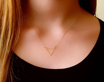 Gold Geometric Necklace - 14K Gold Filled Geometric Necklace -  Bridesmaids Necklace - Delicate Triangle Necklace , Layering necklace,