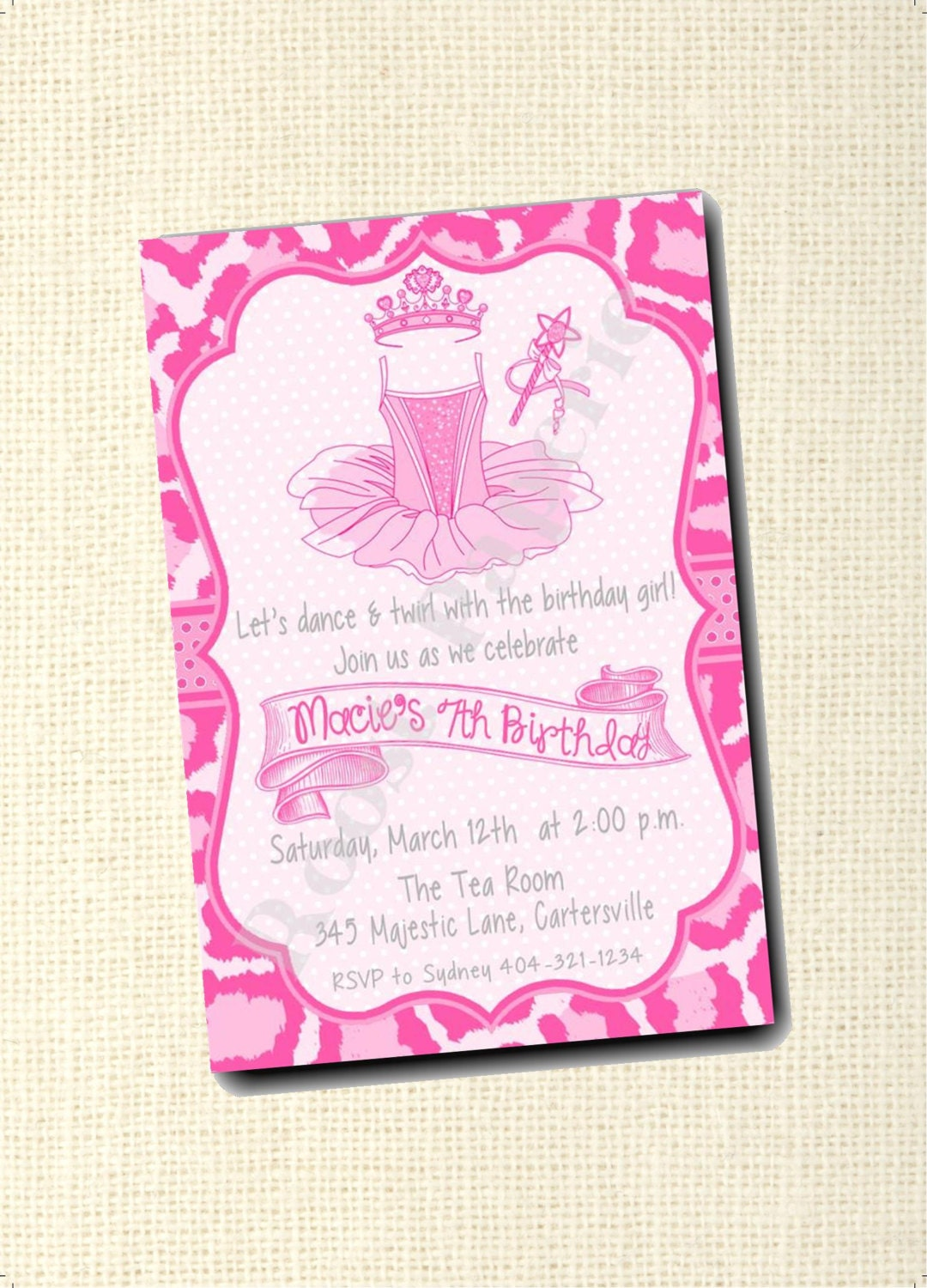 Ballet Invitation Ballerina Party Dancing Birthday