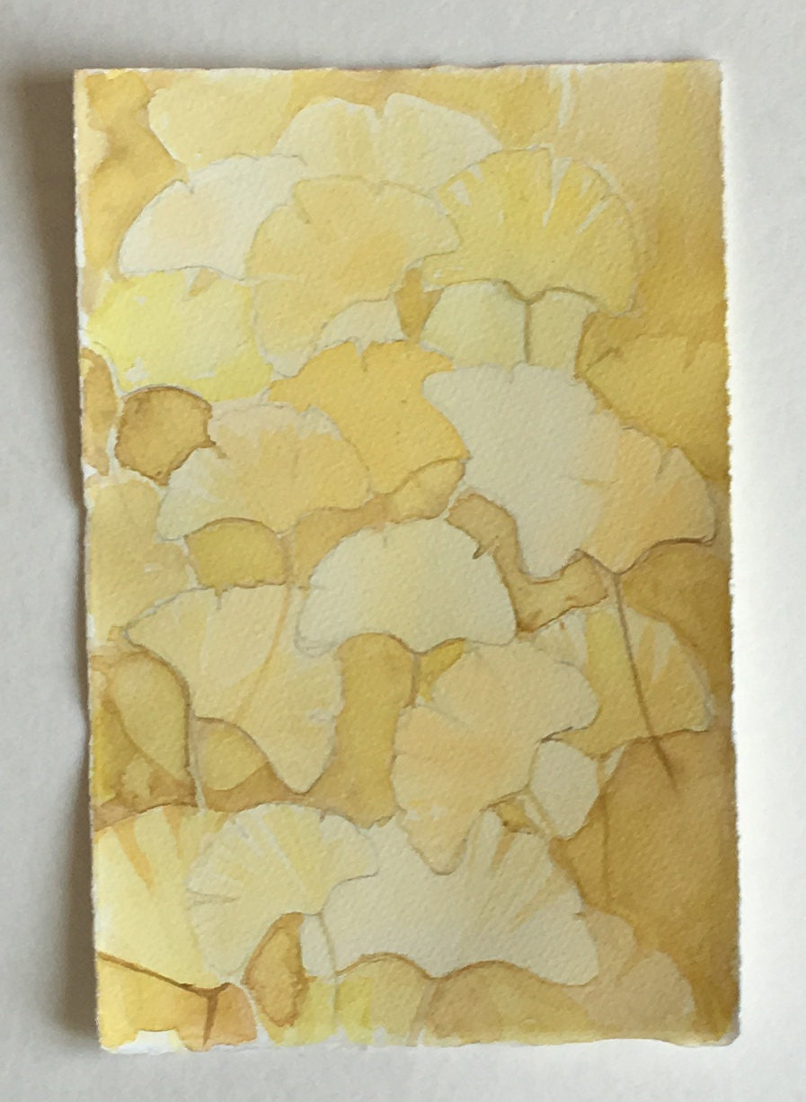 Yellow Ginkgo Leaves painting/ Watercolour painting original/