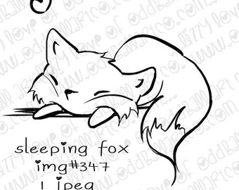 INSTANT DOWNLOAD Sweetly Sleeping Animals Digital Stamps - Sleeping Fox Img No.347 by Lizzy Love