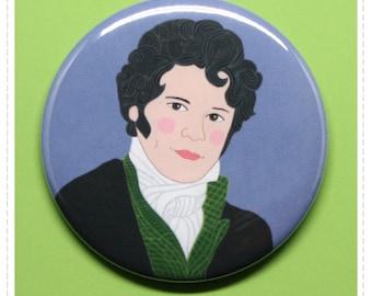 "Mr Darcy Colin Firth Mirror or Pin Back Button print of original gouache painting 2.25"" Jane Austen Pride & Prejudice 1995"