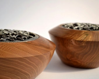 Wood bowl - beautiful hand turned elm trinket potpourri wooden jewellery bowl