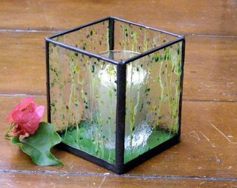 Green and Yellow Confetti Glass Candle Holder - Stained Glass -Handmade Votive or Tea Candle Holder