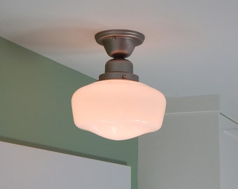 Schoolhouse Light. Salvaged Opal Shade. New Satin Nickel Fixture Base.