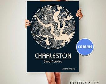 CHARLESTON South Carolina CANVAS Map Charleston South Carolina Poster City Map Charleston South Carolina Art Print Charleston