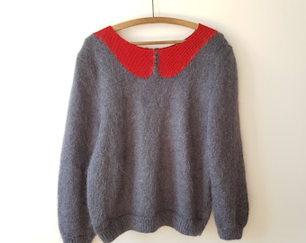 sweater / oversized / Peter Pan / vintage / grey / red