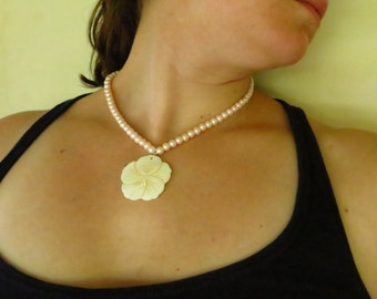 Pearl Necklace with Hibiscus Flower Pendant