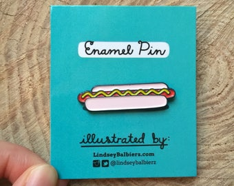 Hotdog Pin / Hotdog Enamel Pin - Illustrated