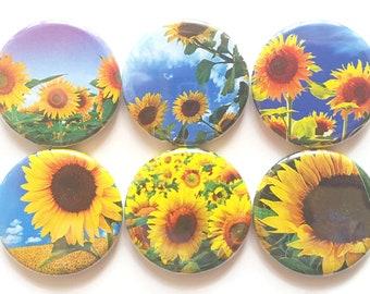 Sunflowers Magnets Pretty Fridge Magnets Country Decor Farmhouse Decor Kitchen Magnets Refrigerator Magnets Set Sunflower Kitchen, 6/Set