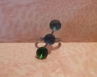 Trio of green and blue - metal ring