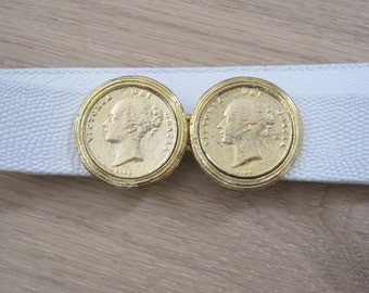 Vintage 1980s Belt with Gold Coin Closure - White Faux Leather Waist Belt Eighties
