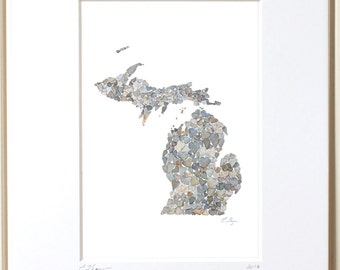 Michigan print, Michigan map, Michigan art, Michigan love, Michigan wedding, Michigan state map, Michigan gifts, MI map