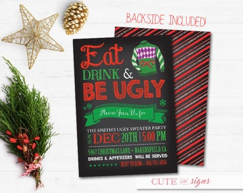 Ugly Sweater Party Chalk Christmas Invitation, Christmas Party Invite Digital Download