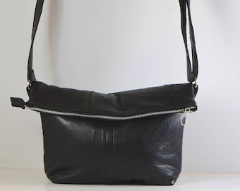 Ultra soft, upcycled leather, flip-top, cross-body, hobo, shoulder bag with adjustable strap