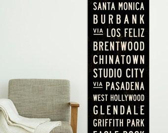 LOS ANGELES Subway Art. Retro California Poster Art. LA Subway Sign. California Wall Art. Industrial Wall Decor, Artwork for Home. 20 x 60