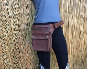 Fanny Bag Hip Shoulder bag hip bags travel bag leather/reddish brown color/adjustable strap/handmade/Unisex