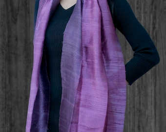 Beautiful Geniune Thai Silk Scarf - Shades of Purple