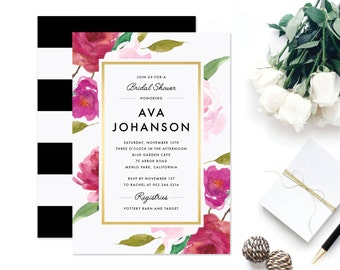 Printable Bridal Shower Invitation | Floral, Gold, Wedding Shower, Customizable