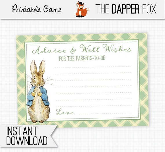 Peter Rabbit Baby Shower Games Advice Cards Printable