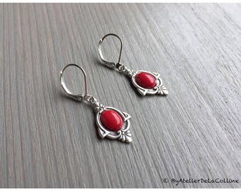 Art deco Iza earrings, sterling silver and coral