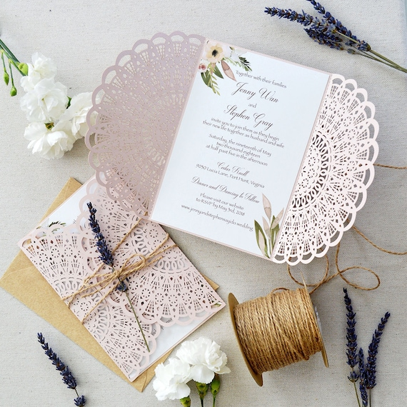 JENNY - Blush Laser CutWedding Invitation with Twine and Lavender - Blush Semi-Circle Laser Cut Gatefold invite w/ Kraft Envelopes