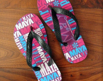 Gifts for Girls. Personalised Flip Flops for Children. Free Uk Shipping