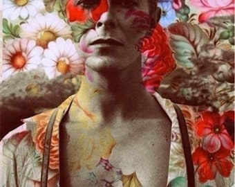 David Bowie in the Flowers Fan Art Collage Fabric Block - Great for Quilting, Pillows & Wall Art - Buy 2, Get 1 FREE