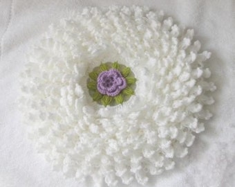 Romantic Country style bathroom washcloth or Smell cushion in White with Purple Flower