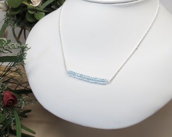 Blue Topaz Necklace, December Birthstone, Blue Gemstone Necklace In Sterling Silver, 16.5-19 Inches Length, Birthstone Jewelry