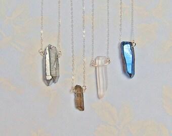 Raw Stone Necklace, 925 Sterling Silver, Raw Quartz Stick Stone Necklace, Raw Stone Pendant, Silver, Blue, Gold, White Raw, Delicate Jewelry